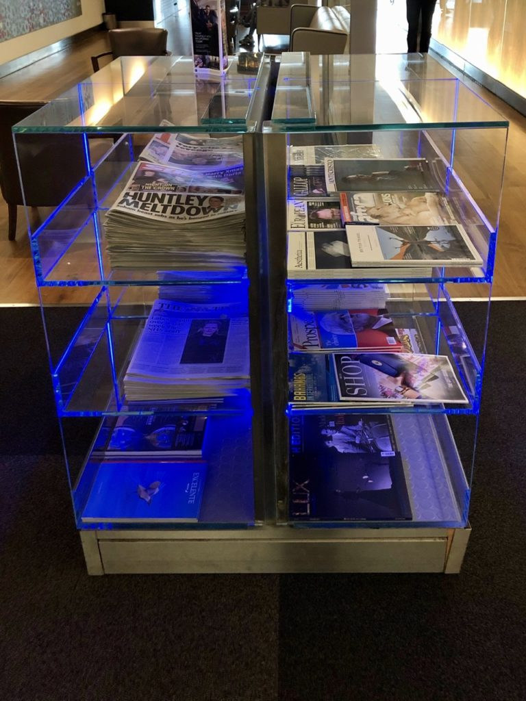 Newpapers at BA Galleries First Lounge Heathrow