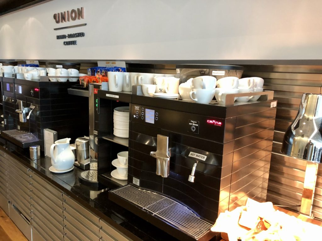 Union Coffee station in BA Galleries First Lounge Heathrow