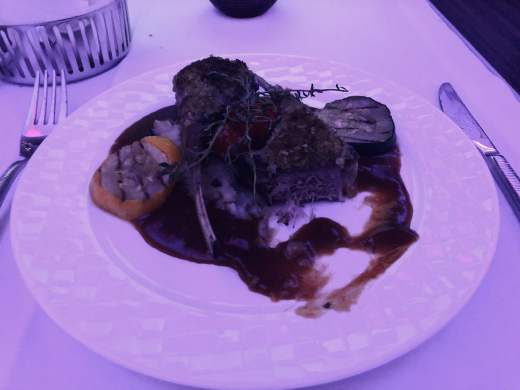 Herb crusted lamb on Qatar Airways business class