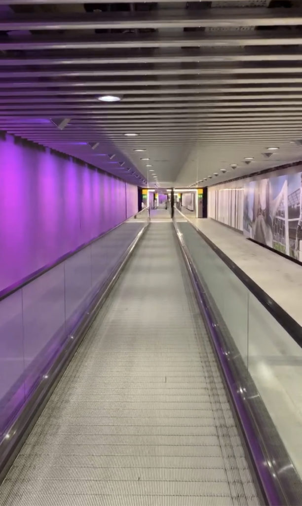 The walkway between the terminals at Heathrow Terminal 5
