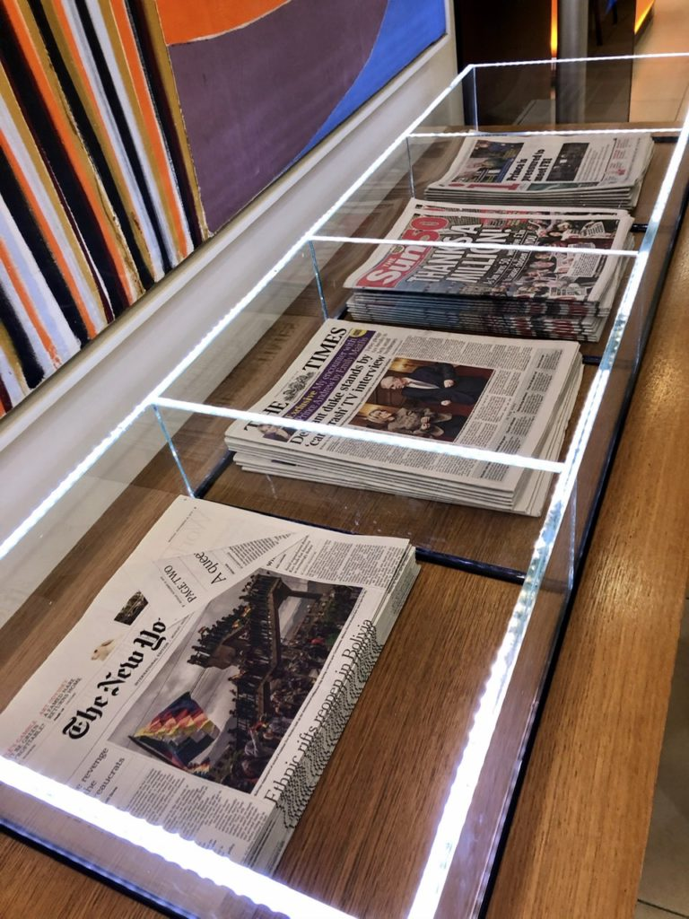 Daily newspapers at BA Arrivals Lounge Terminal 5