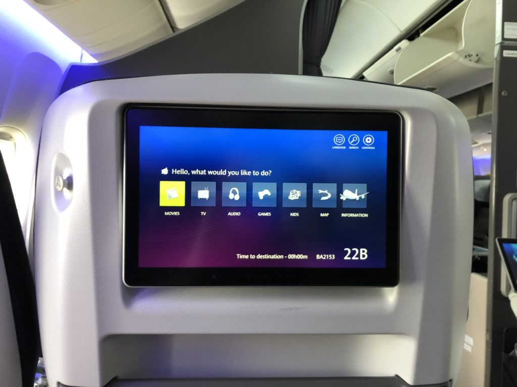 BA Premium Economy IFE screen