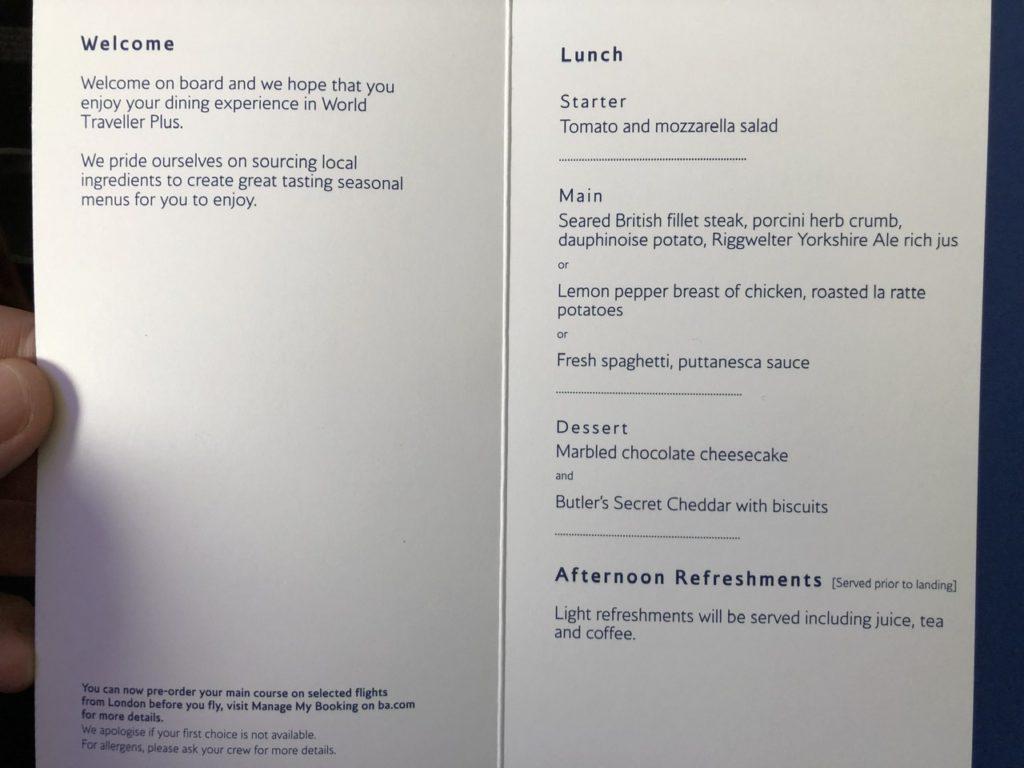 BA Premium Economy menu