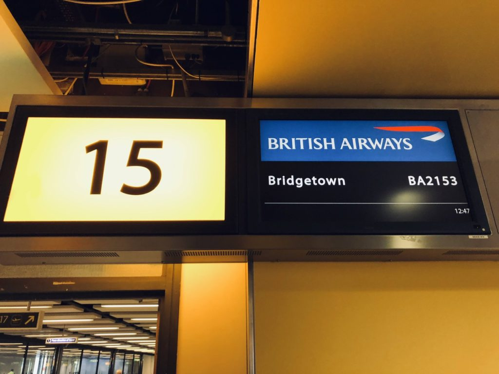 Boarding for Bridgetown at London Gatwick