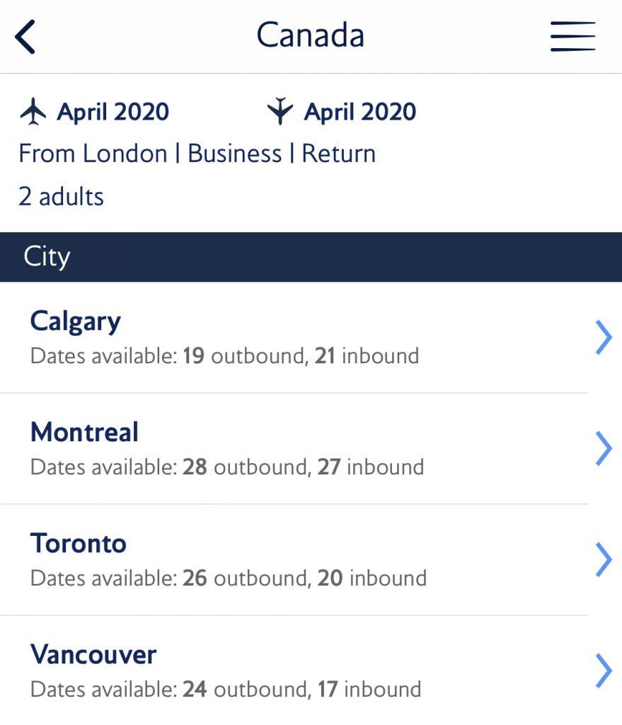 BA Reward flight finder - Canada