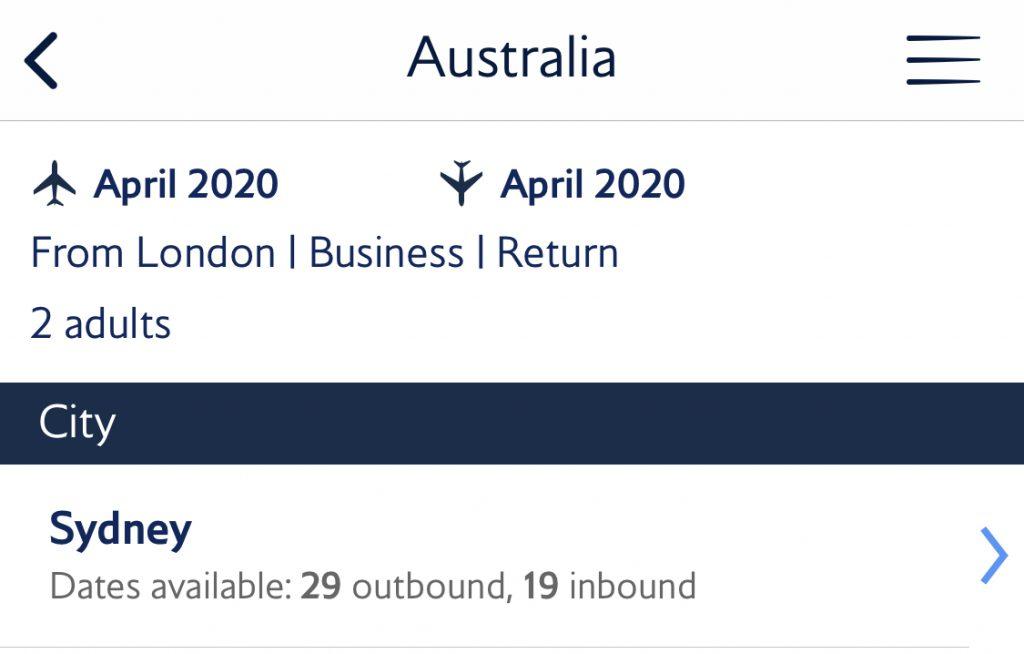 BA Reward flight finder - Australia