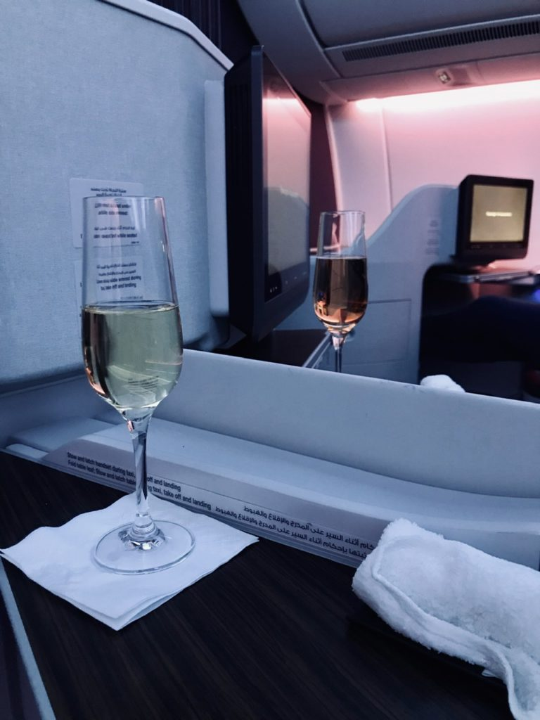 Champagne on Qatar Airways A350 business class