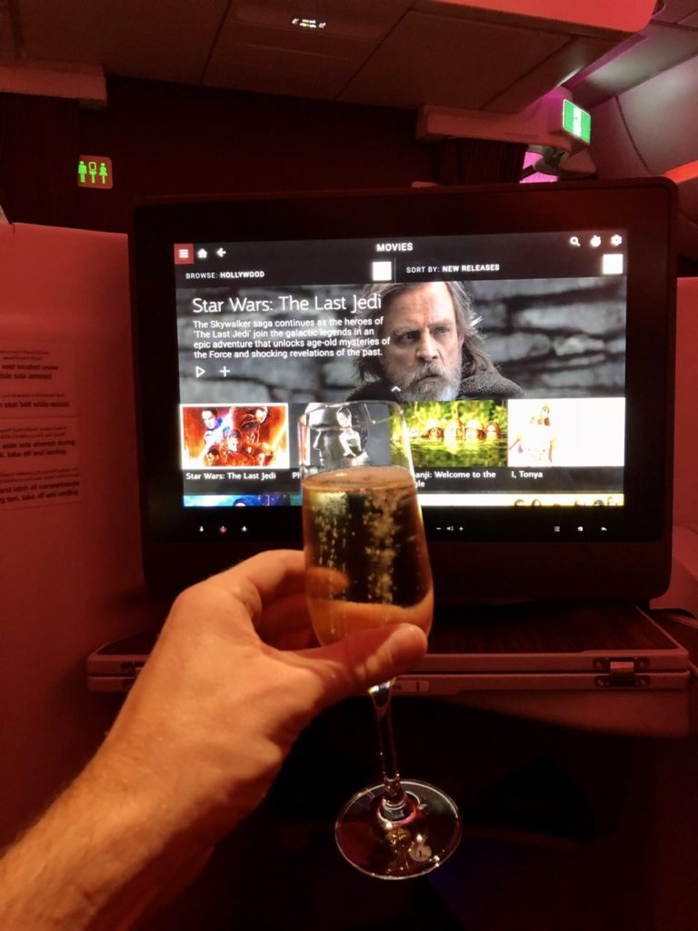IFE and champagne on Qatar Airways A350