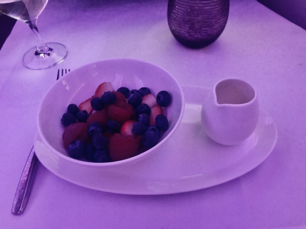 Berries and elderflower syrup on Qatar Airways business class