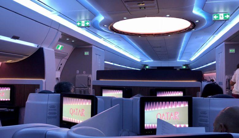 Main door vestibule on Qatar Airways A350