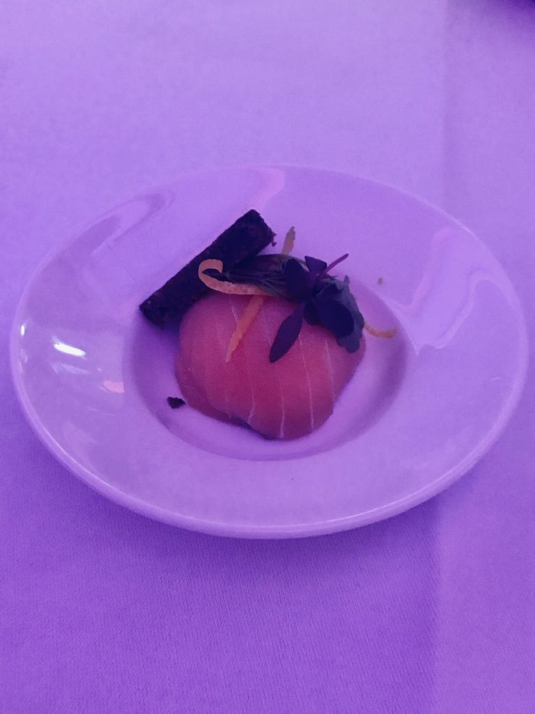 Salmon amuse-bouche on Qatar Airways business class