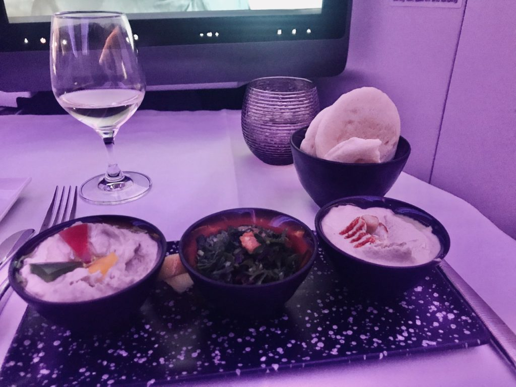Arabic Mezze on Qatar Airways business class