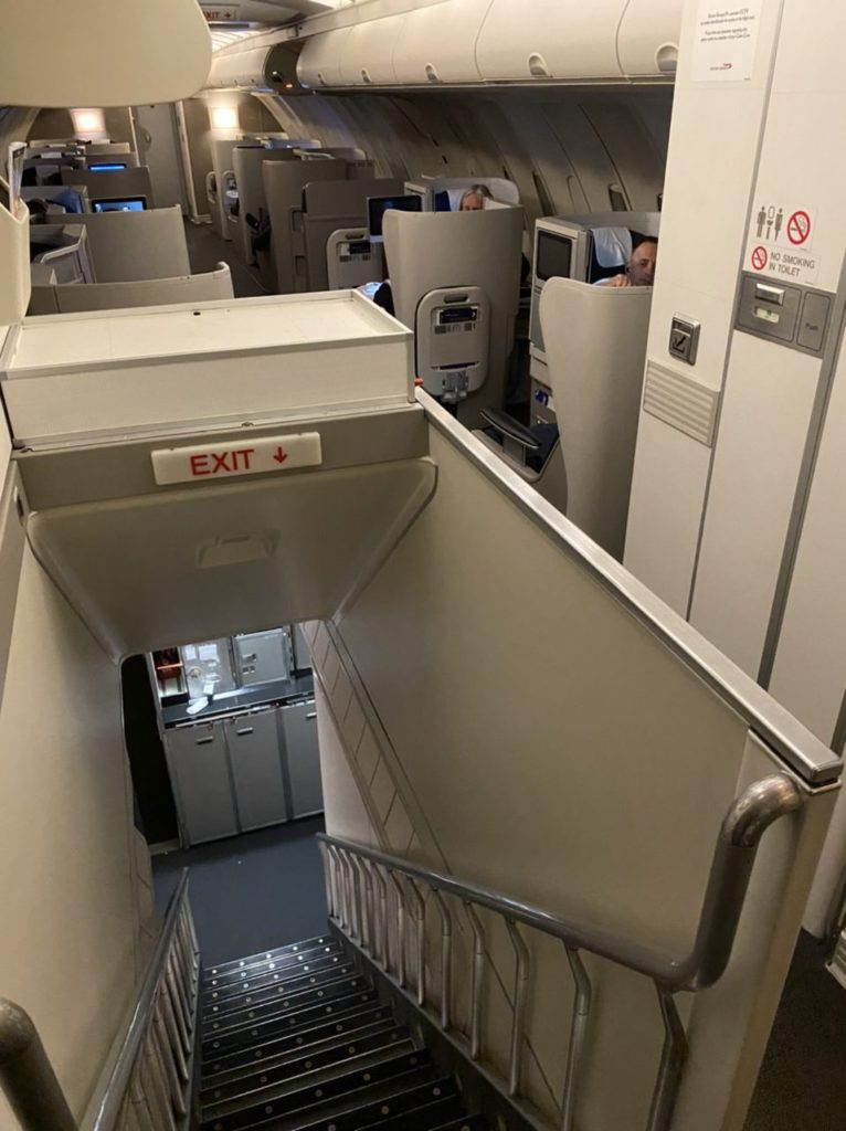 Top of staircase on BA 747 business class