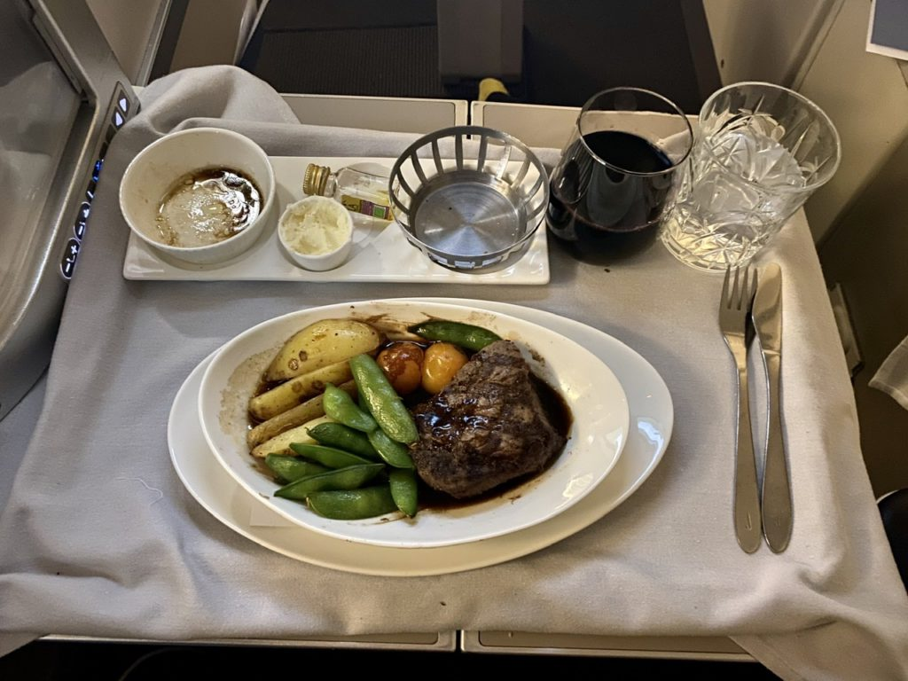 Dinner on BA 747 business class