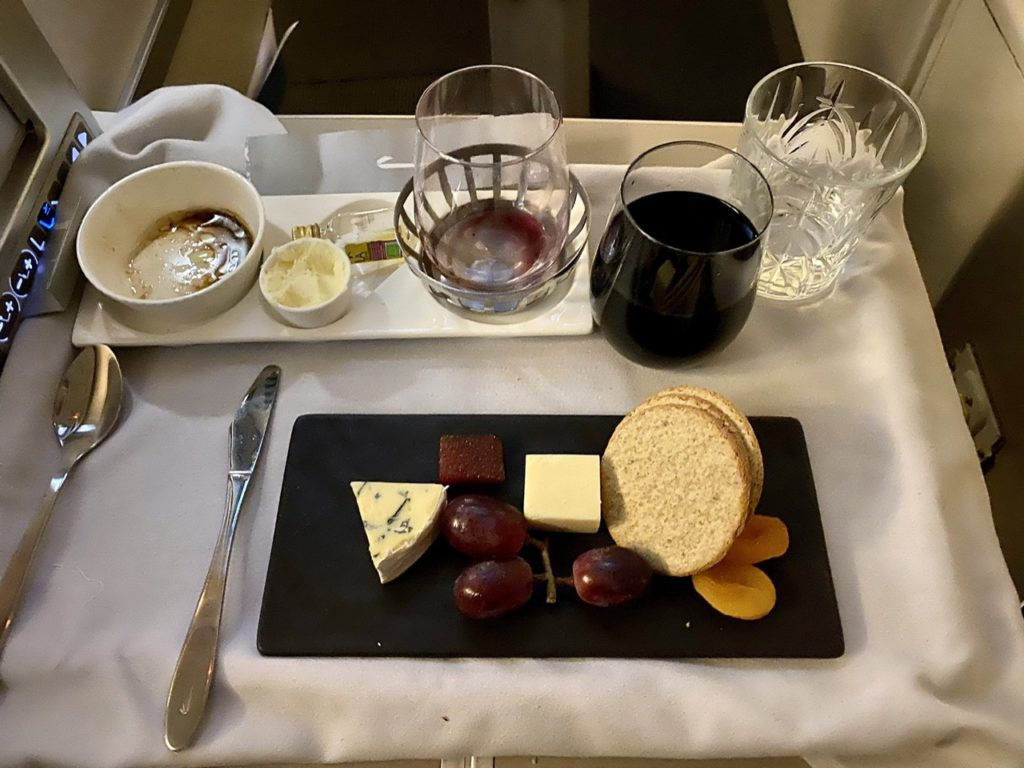 Cheese course on BA 747 business class