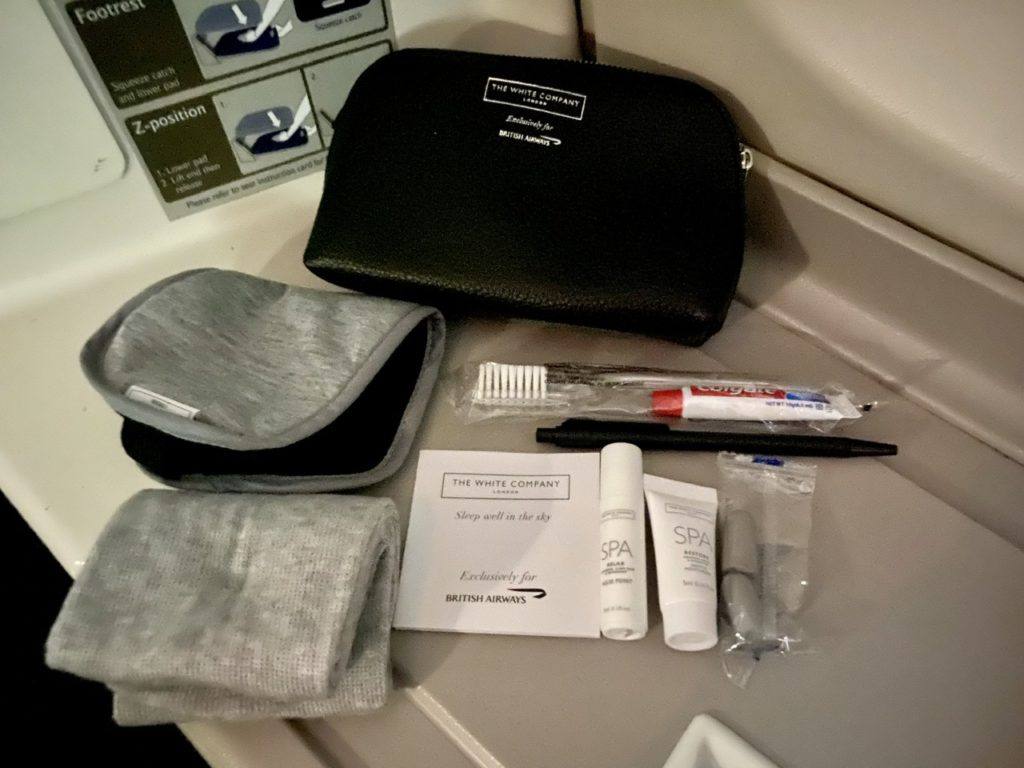 Amenity kit in BA business class