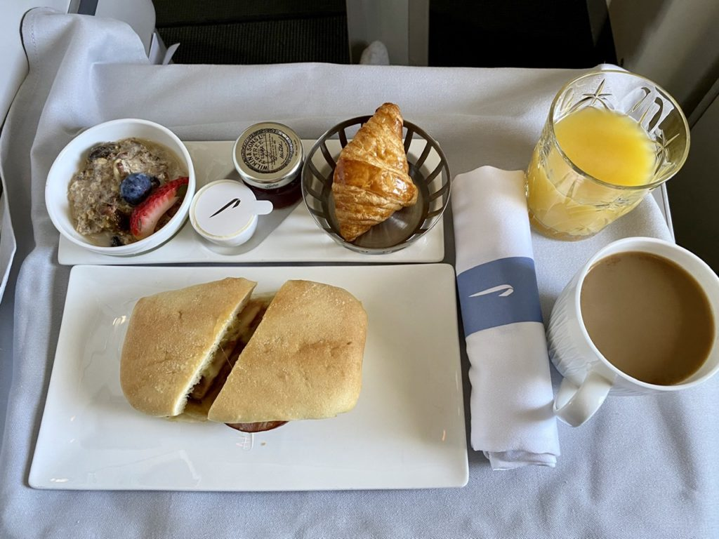 Breakfast on BA 747 business class