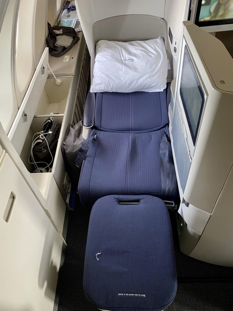 Seat in bed mode on BA 747 business class