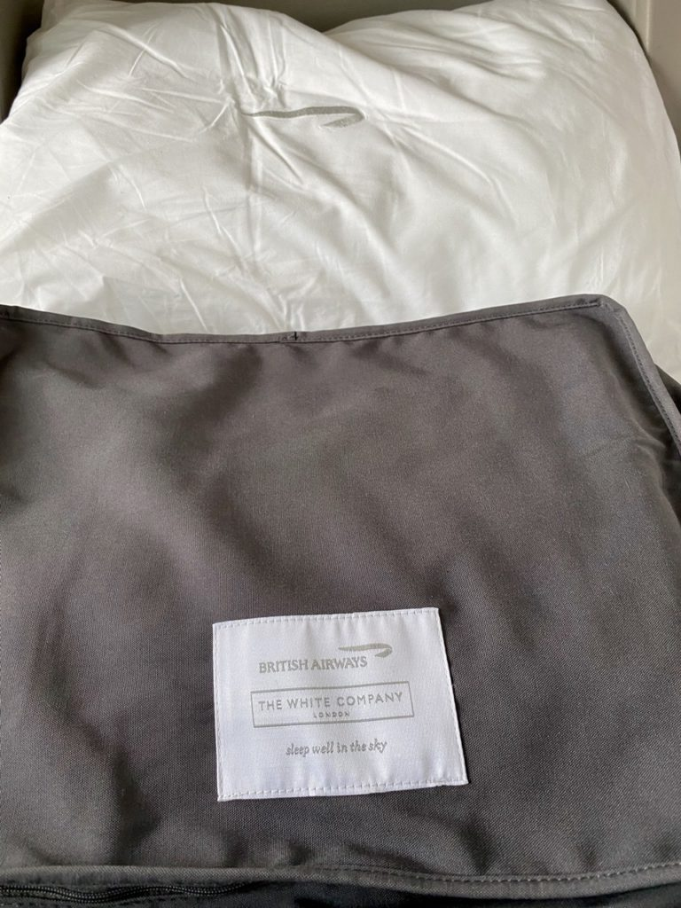 White Company bedding on BA 747 business class