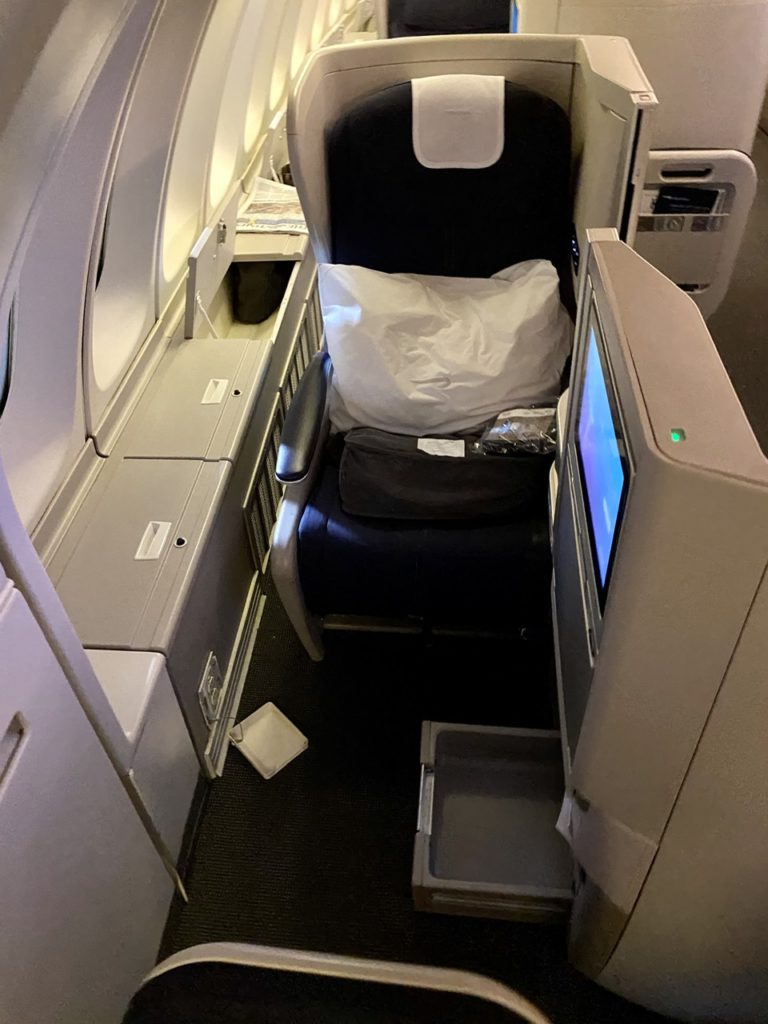 Club World seat on BA 747-400