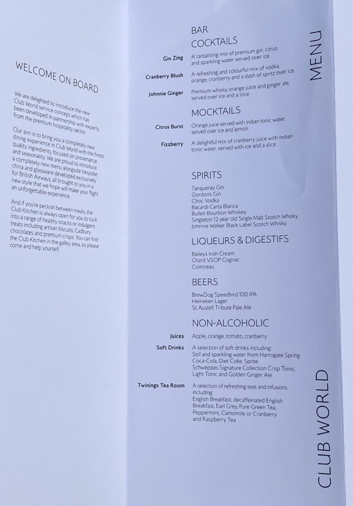 Beverage menu on BA 747 business class