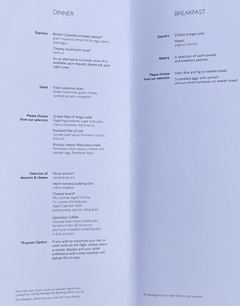 Food menu on BA 747 business class