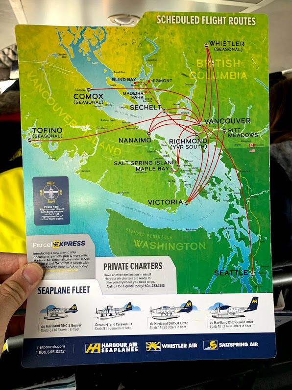 Harbour Air Seaplanes scheduled flight routes between Vancouver to Victoria Island and beyond
