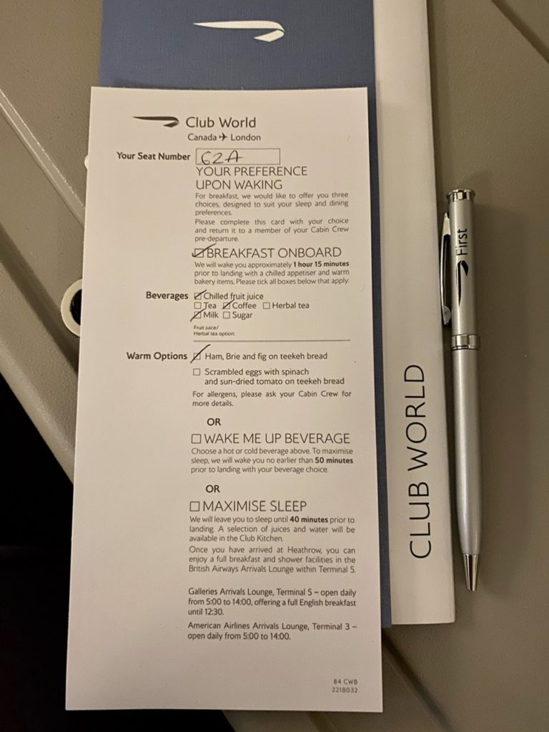 Breakfast pre-order on BA 747 business class