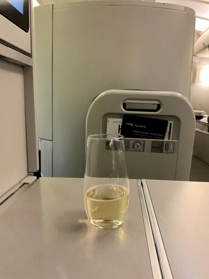 Thimble of champagne served in British Airways business class