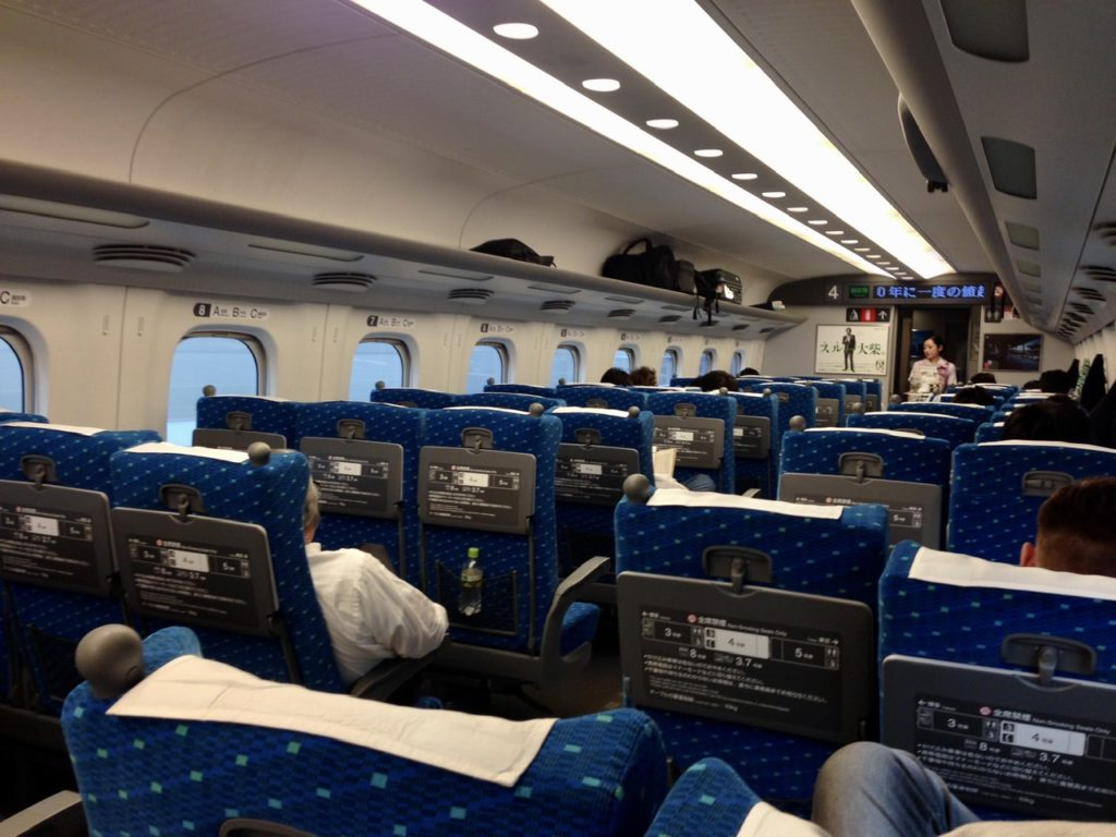 Inside a bullet train in Japan