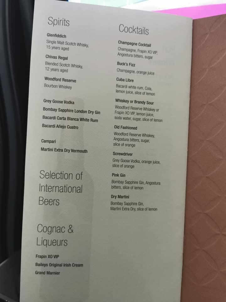 Qatar Airways drinks