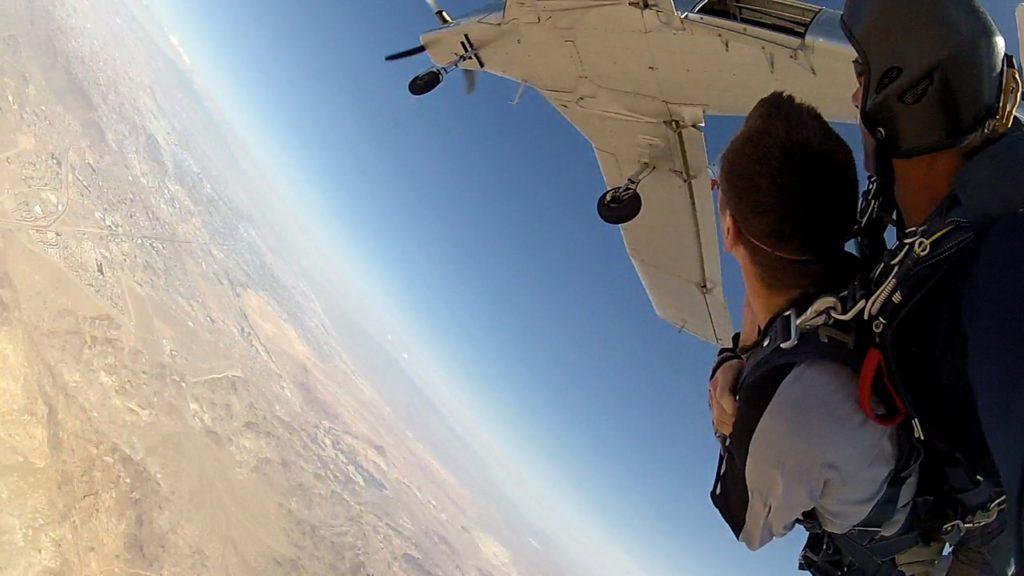Tandem skydiving above the Nevada desert, USA