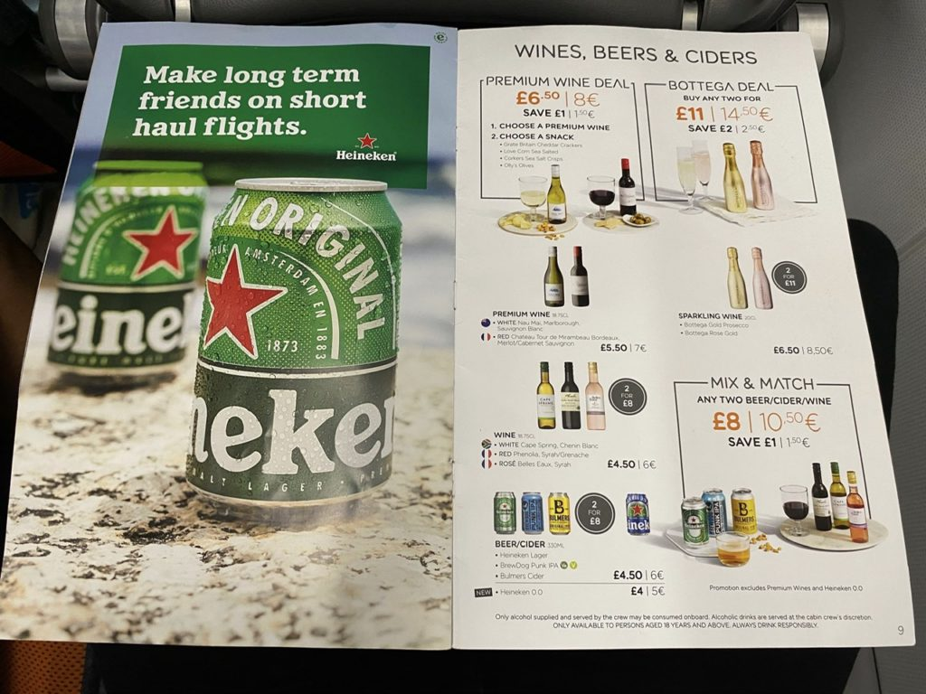 Beers and wine on Easyjet A320