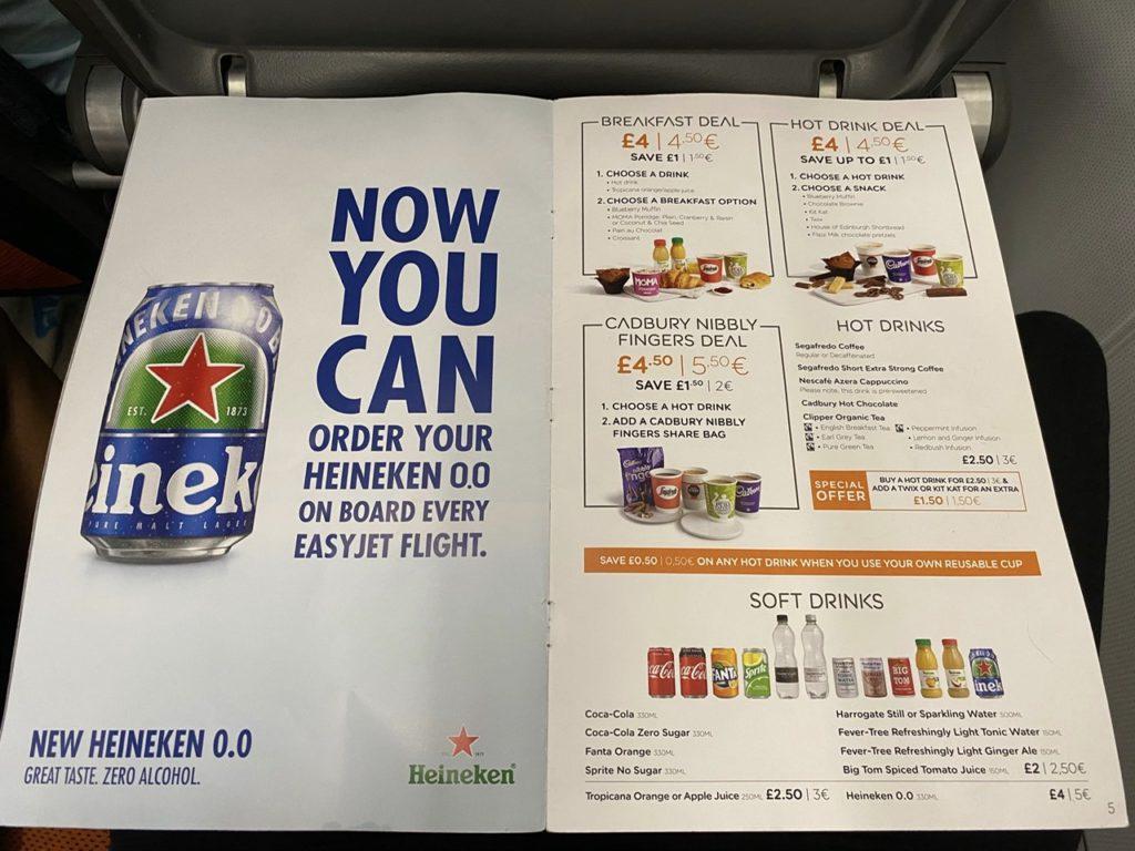 Meal deals on Easyjet A320