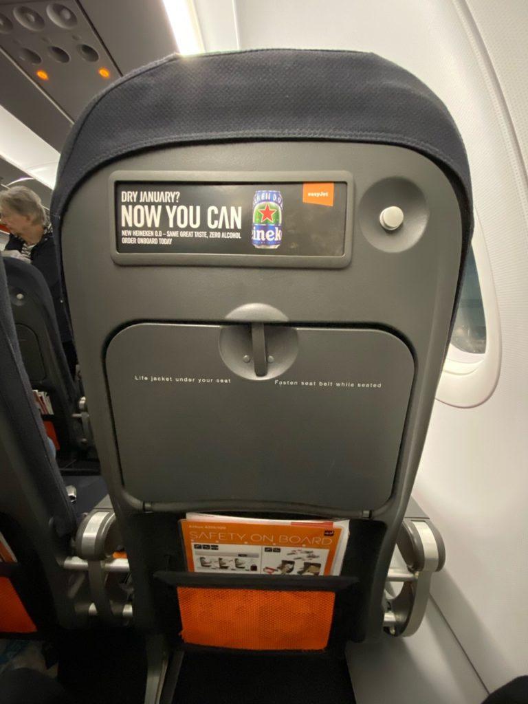 Seat back on Easyjet A320