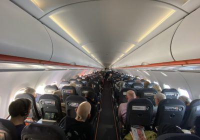 The cabin of an Easyjet A320