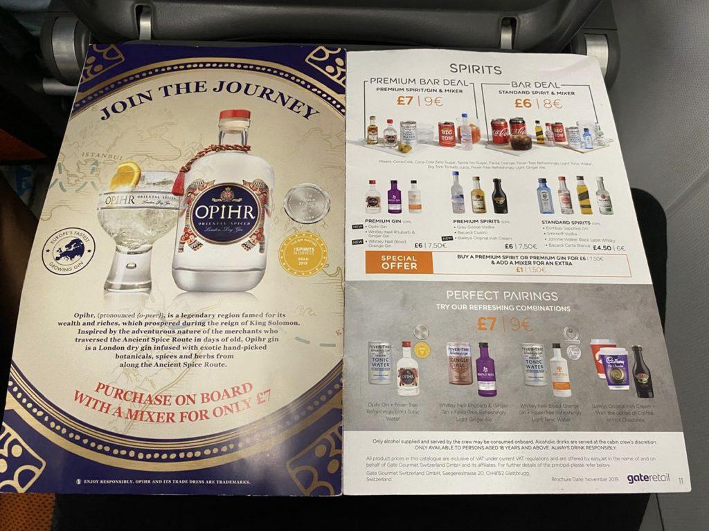Spirits menu on Easyjet A320