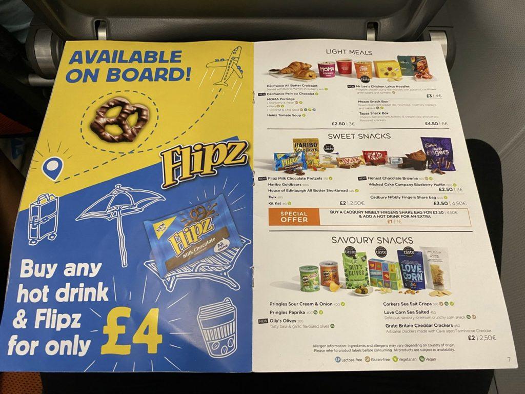 Snack menu on Easyjet A320