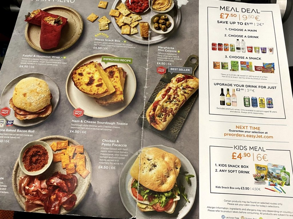 Food menu on Easyjet A320