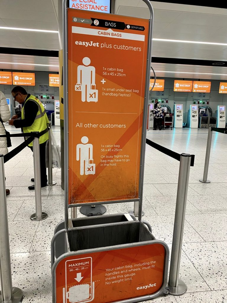 Carry on baggage allowance for Easyjet
