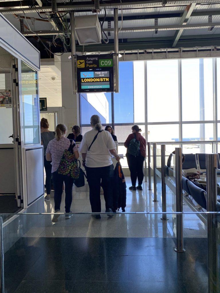 Tui boarding gate at Las Palmas de Gran Canaria