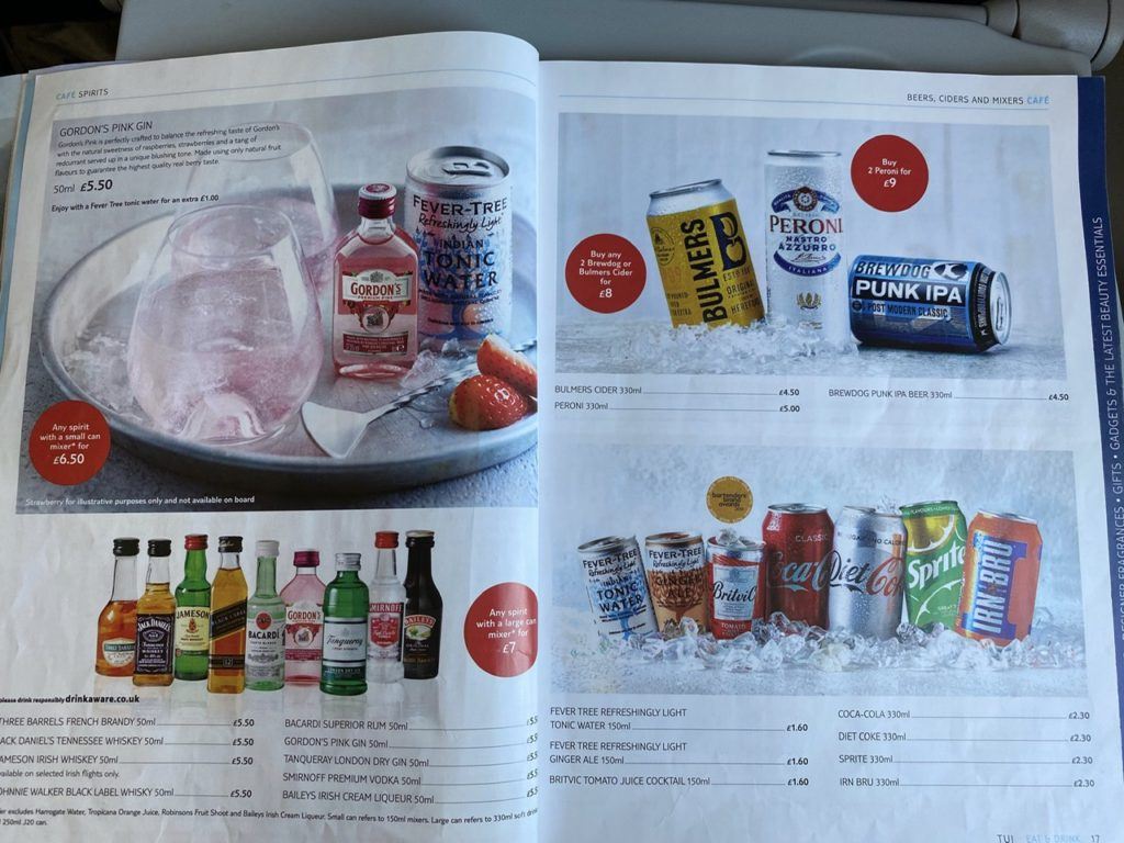 Beers, wines and spirits on Tui 737 from Gran Canaria