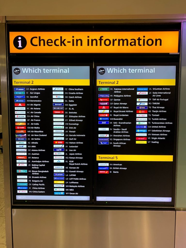 Check-in information at Heathrow Airport - which terminal