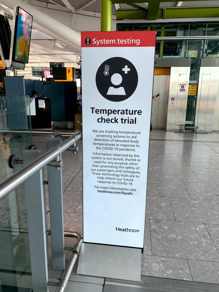 Temperature check trial at Heathrow Airport