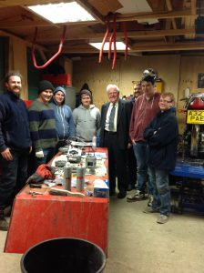 Sir Graham meets members of the Littleport Youth Bike Project