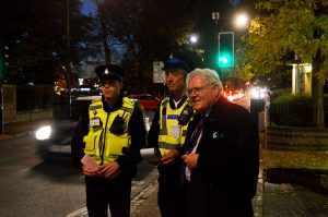 PCSOs Owen Neesam, Mike Stribling with  PCC Sir Graham Bright