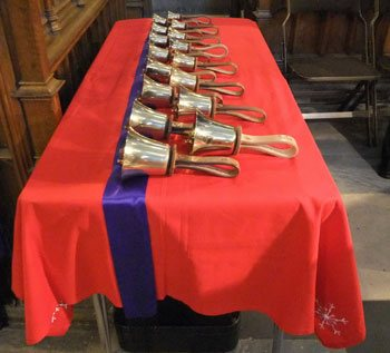 Some of the choir handbells