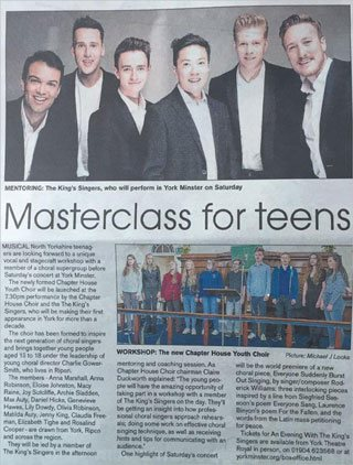 Masterclass for teens press article