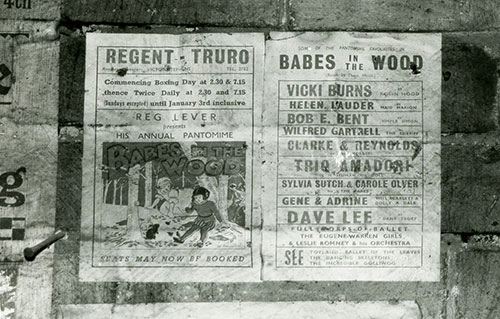 A handbill advertising Babes In The Wood pantomime performance at the 'Regent Truro'