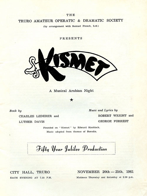 Programme frontispage for Kismet at City Hall